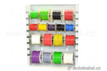 Nástěnný držák kabelových cívek.
