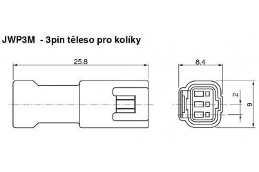 Těleso těsněného konektoru JWP, 3pin pro kolíky.
