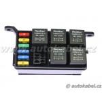 Univerzální rozvodný elektrobox pro 6 pojistek a 5 relé.