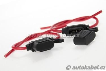 Držák 19mm autopojistky s kabelem a krytkou.