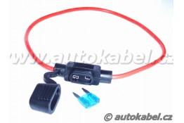 Držák MINI autopojistky s kabelem a krytkou.